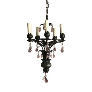 French 1930s Tole Painted Iron Chandelier For Sale