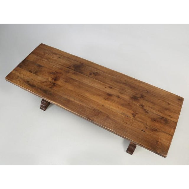 Late 19th Century Antique French White Oak Trestle Table C. 1880 For Sale - Image 5 of 13