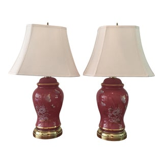 Salmon Colored Glass Ginger Jar Lamps - A Pair