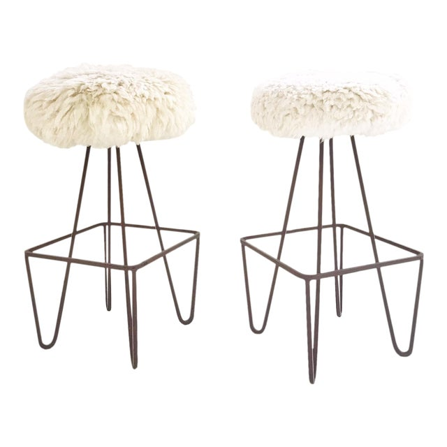 Vintage Weinding Stools Reupholstered in Brazilian Sheepskin - a Pair - Image 1 of 5