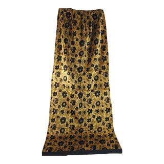 1920s French Gold & Black Cotton Silk Velvet Drapes - Set of 4 For Sale