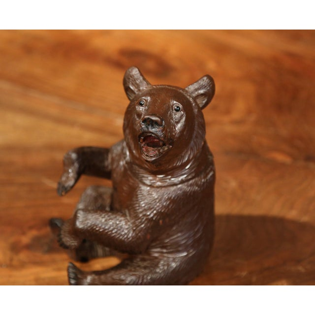 Wood 19th Century Swiss Carved Black Forest Tobacco Bear Sculpture With Glass Eyes For Sale - Image 7 of 11