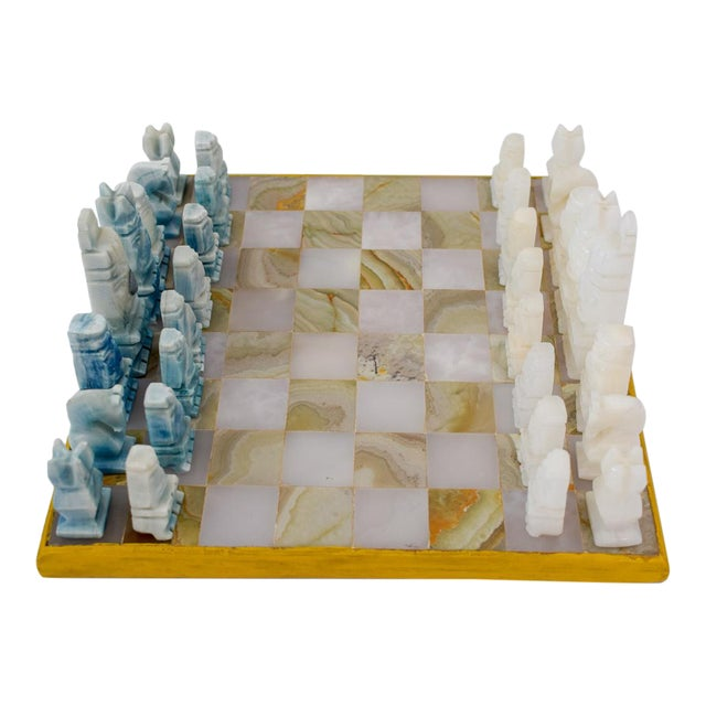 Vintage Aztec Blue and White Onyx Marble Chess Set For Sale