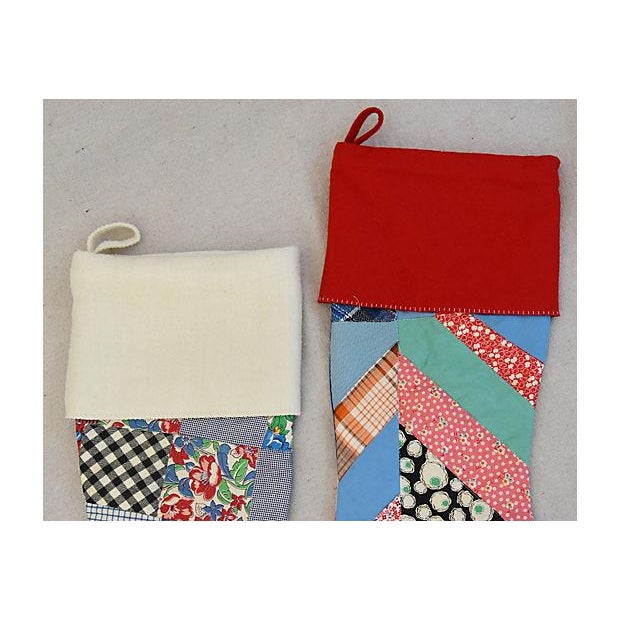 "Large Custom 22"" Tailored Patchwork Quilt Christmas Stockings - Pair - Image 3 of 7"