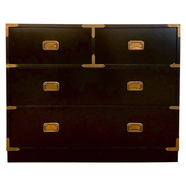 Campaign Style Ebony Chest / Dresser or Nightstand Attributed to Baker For Sale