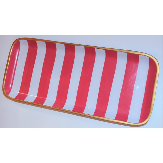 Pink Dana Gibson Melon and White Striped Trinket Tray For Sale - Image 8 of 13
