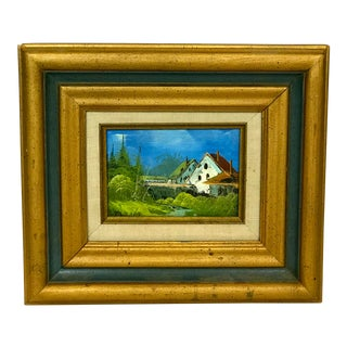 1980s House on a Hill Landscape Oil Painting For Sale