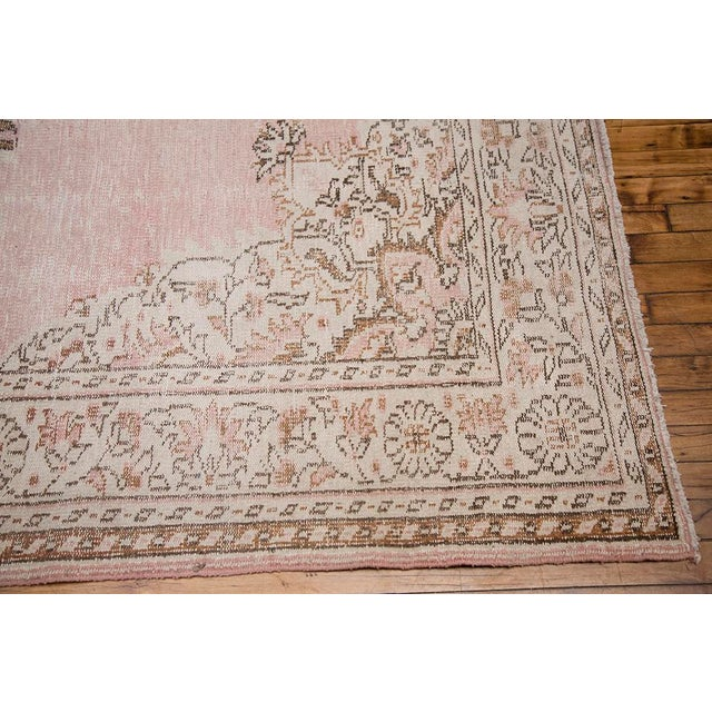 "Blush Pink Turkish Overdyed Rug - 6'6"" x 10'3"" For Sale - Image 4 of 7"