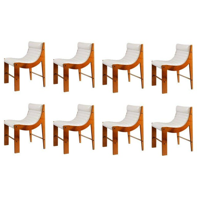 Jacques Quinet Jacques Quinet Set of Eight Cherrywood and Leather Dining Chairs For Sale - Image 4 of 4