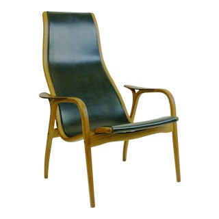 Scandinavian Modern Oak and Leather Lamino Chair by Yngve Ekstrom for Swedese