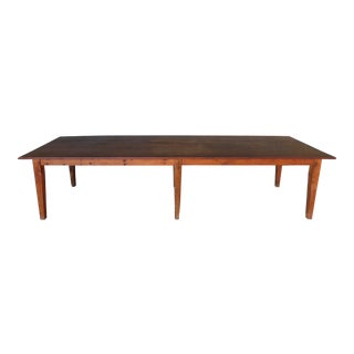 """Antique Barn Wood Shaker Style Farm Dining Table 129.5""""l For Sale"""