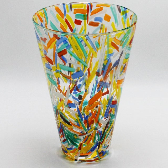 Murano glass vase with colorful etched detailing, c. 1960