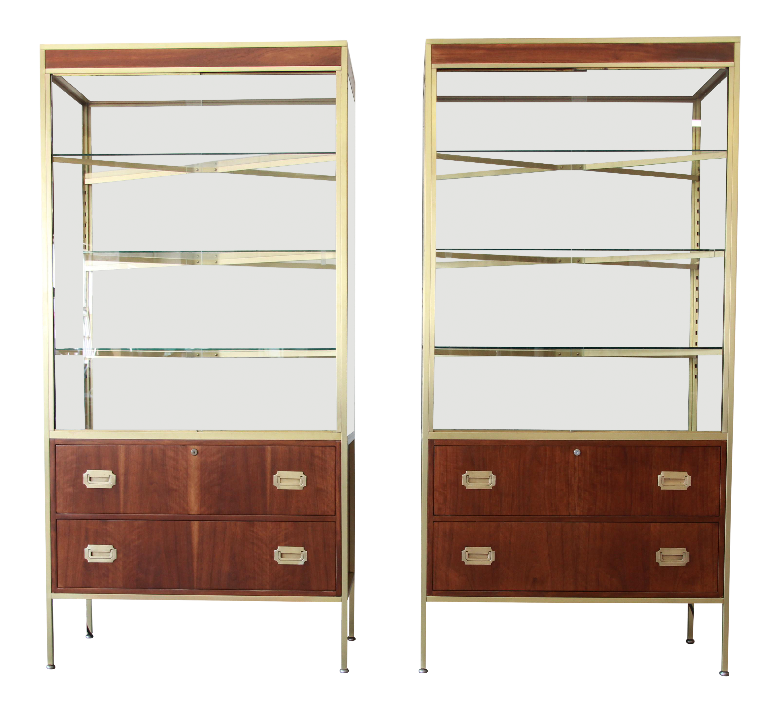 Baker Furniture Hollywood Regency Campaign Style Lighted Display Cabinets    A Pair