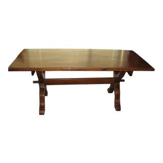 Heirloom Antique Pine Farm Trestle Table For Sale
