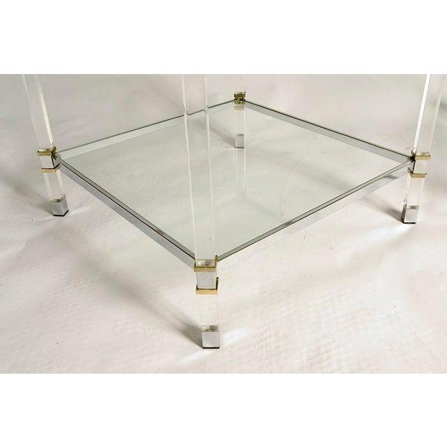 Karl Springer Pair of Karl Springer Lucite Tables For Sale - Image 4 of 5