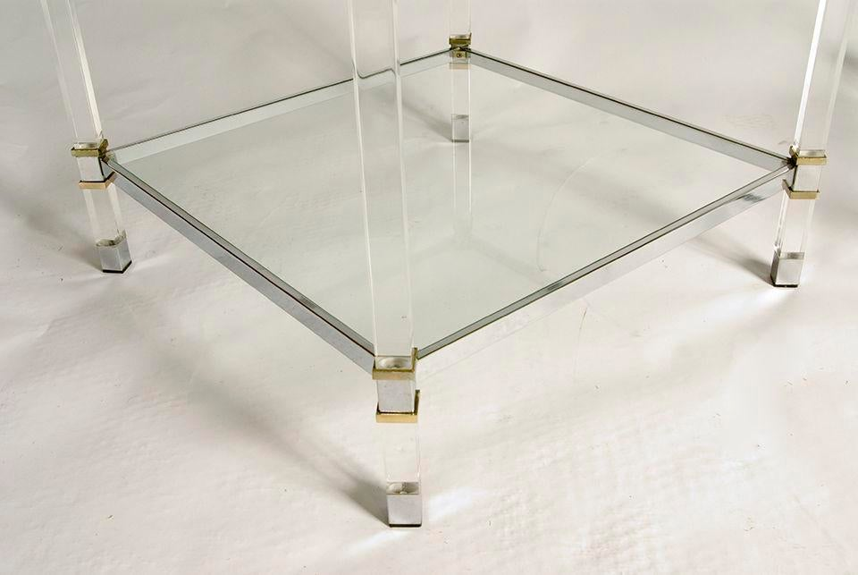Pair Of Karl Springer Lucite Tables   Image 4 Of 5