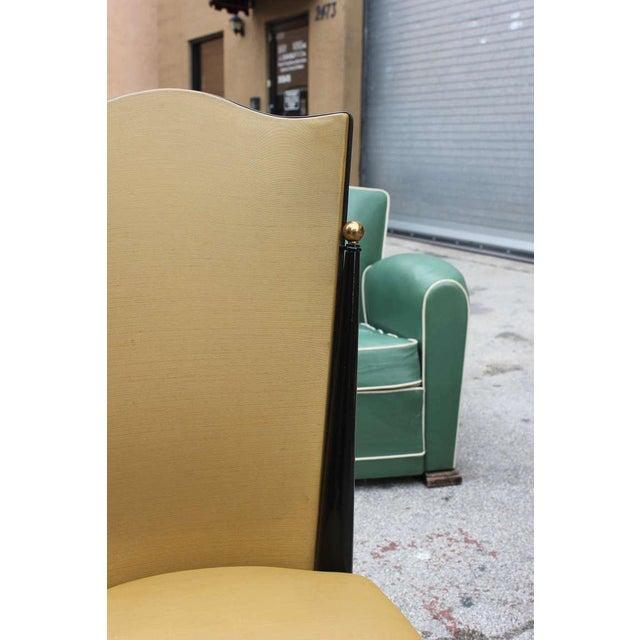 French Art Deco Ebonized Walnut Chairs - Set of 6 - Image 4 of 7