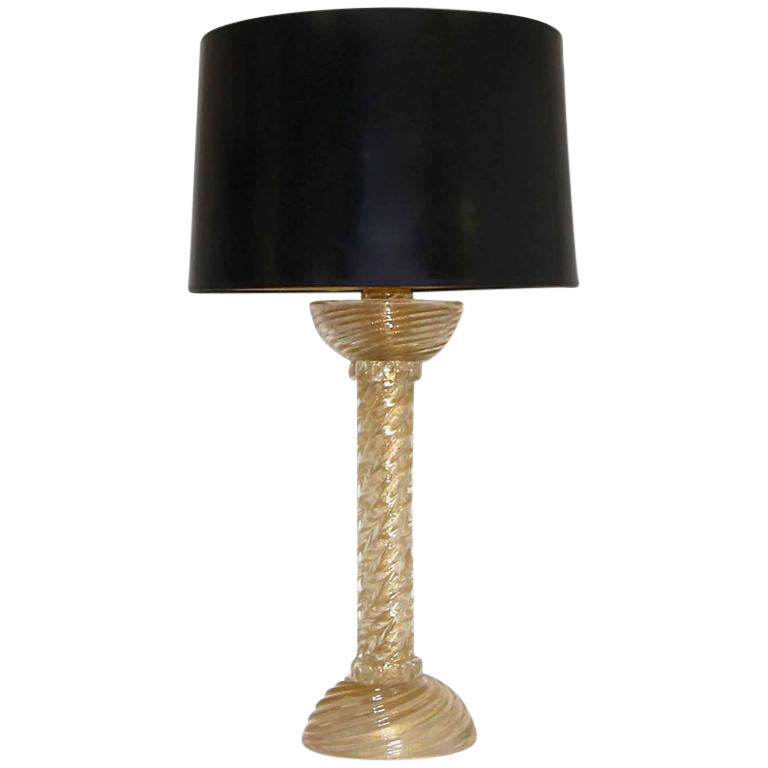 1960s Barovier Murano Gold Twisted Glass Table Lamp Chairish