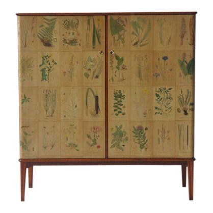 1950s Botanical Print Swedish Cabinet For Sale