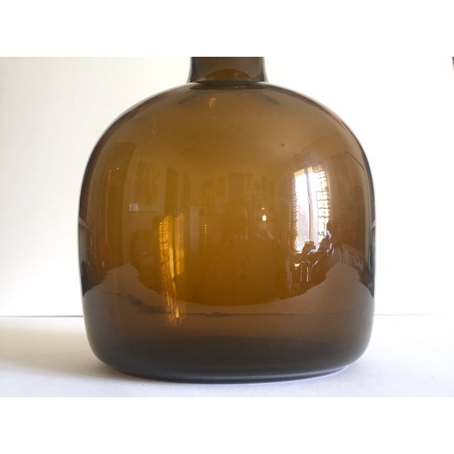 Mid 20th Century Holmegaard Kastrup Rare Vintage Mid Century Danish Modern Burnt Umber Smoke Brown Hand Blown Art Glass Bottle Vase For Sale - Image 5 of 13