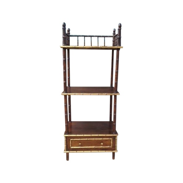 Vintage Faux Bamboo Shelf/Bar - Image 1 of 6
