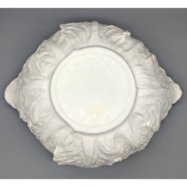 Ceramic Large Mid-Century White Cabbage Soup Tureen With Ladle and Underplate - 4 Pieces For Sale - Image 7 of 10