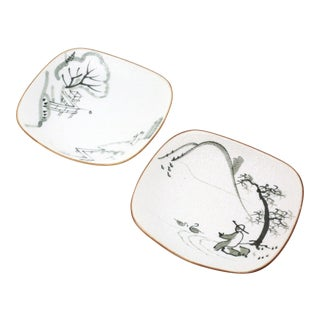 Hand-Painted Fishermen Trinket or Snack Dishes - a Pair For Sale