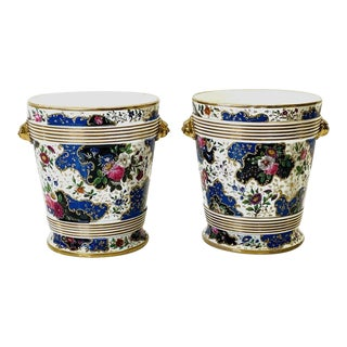 19th Century Antique French Porcelain Wine or Champagne Coolers With Stands - a Pair For Sale