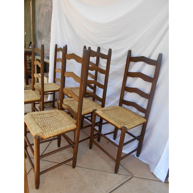 Vintage French Ladder Back Dining Chairs - Set of 6 - Image 3 of 9