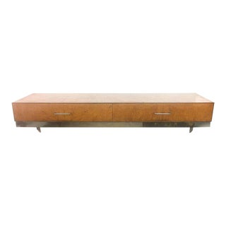 Mid-Century Burlwood Floating Console Table, Desk