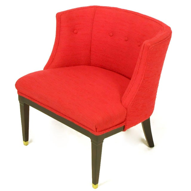 Pair of Button Tufted Red Wool and Dark Walnut Pull Up Wing Chairs - Image 5 of 10