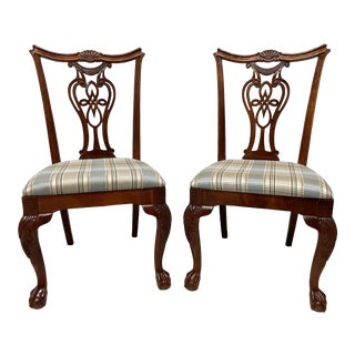 Pennsylvania House Solid Cherry Chippendale Style Ball in Claw Dining Side Chairs - Pair For Sale