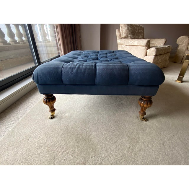 Vintage Periwinkle Blue Robert Allen Upholstery Ottoman For Sale - Image 9 of 12