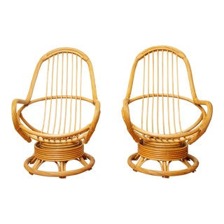 20th Century Boho Chic Twisted Rattan & Bamboo Swivel Rocking Chairs - a Pair For Sale