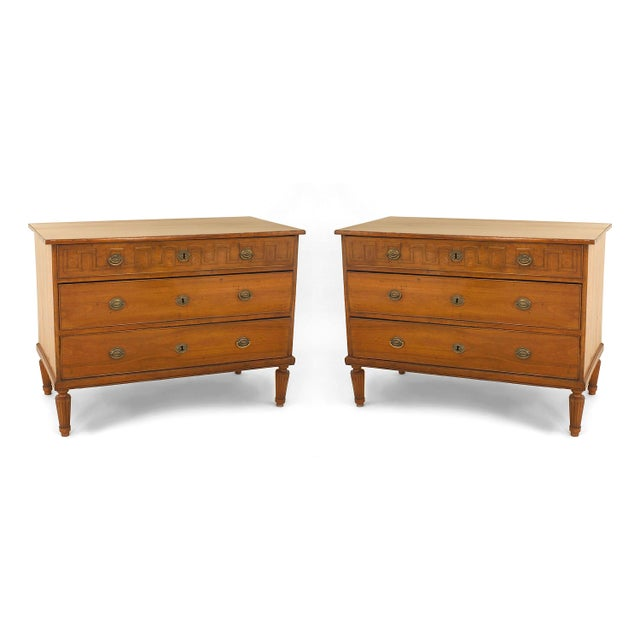 Pair of 19th Century Italian Neoclassical Fruitwood Three-Drawer Chests For Sale - Image 4 of 4