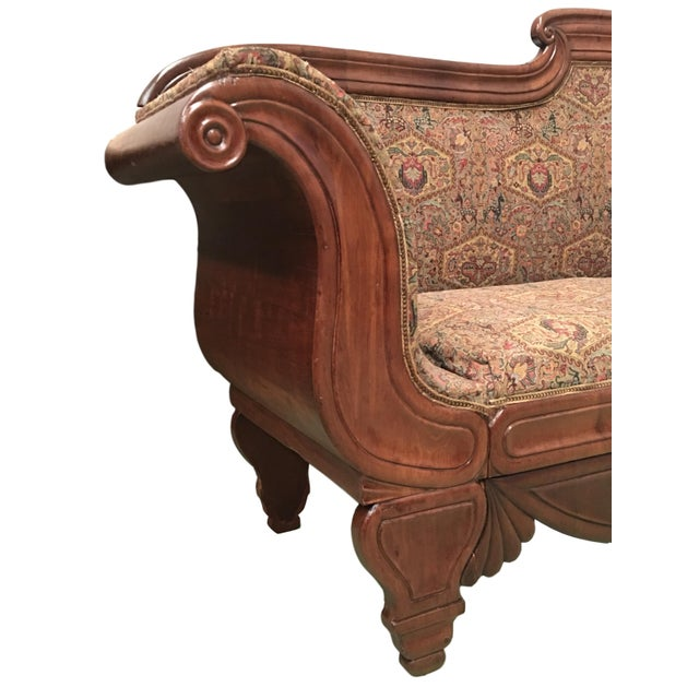 Mid 19th Century French Carved Walnut Bench, Sofa, Daybed Upholstered in Original Damask For Sale - Image 5 of 10