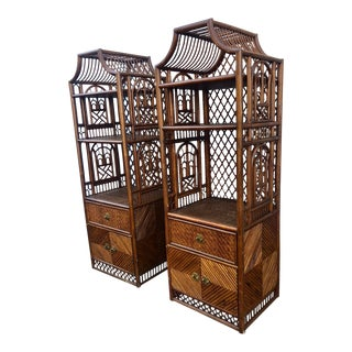 Vintage Rattan Pagoda Etageres a Pair For Sale