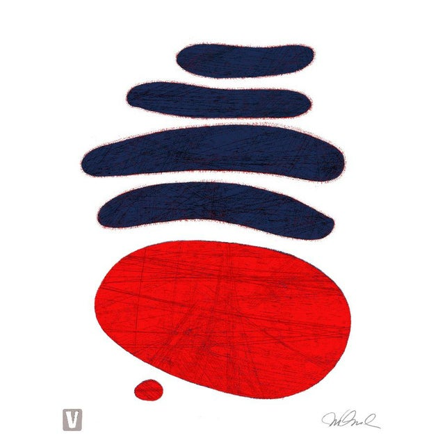 "Steve Klinkel Dark Blue Red. Giclee Print 9x12"" For Sale - Image 4 of 4"