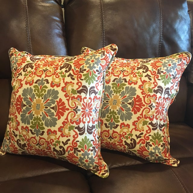 Traditional Folk Damask Terracotta Decorative Pillows - A Pair For Sale - Image 3 of 3