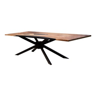 Walnut and Black Epoxy Single Slab Dining/Conference Table For Sale