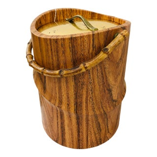 Vintage Kraftware Faux Bamboo Style Cocktail Ice Bucket For Sale