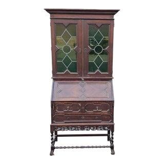 Antique Oak English Jacobean Barley Twist Slant Top Secretary Desk W/ Green Glass C1900 For Sale