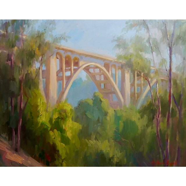 """Colorado Street Bridge"" signed oil painting on canvas by Arthur Bjorn Egeli. frame size 31 x 36"" canvas size 24 x 31""..."