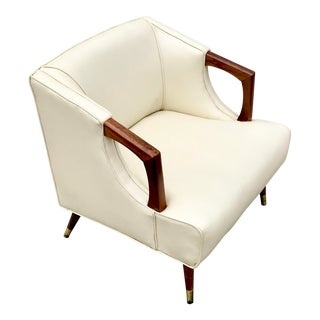 Vintage Mid-Century Modern Vinyl Chair For Sale