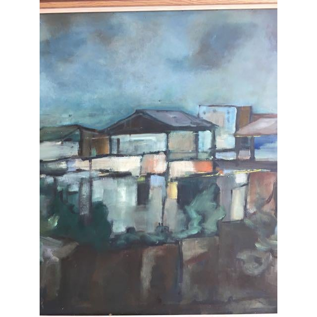 """Modern Swedish """"Building in Moonlight"""" Painting - Image 3 of 9"""