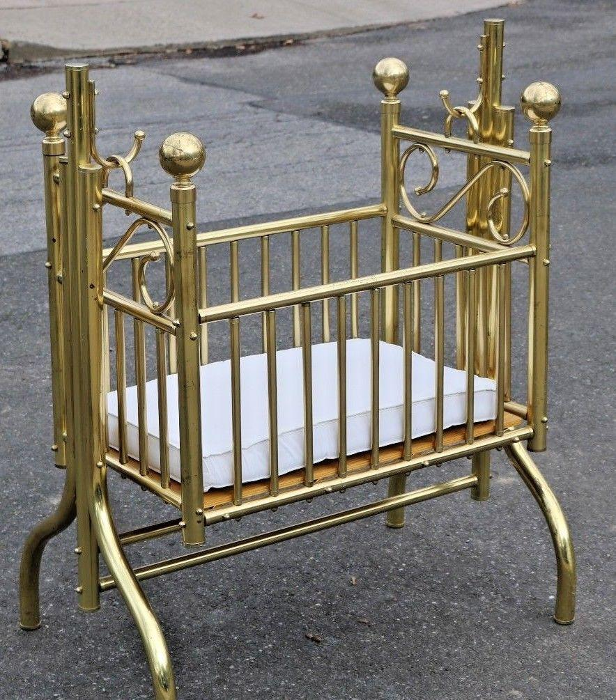 Vintage Victorian Style Brass Hanging Baby Infant Cradle Rocking