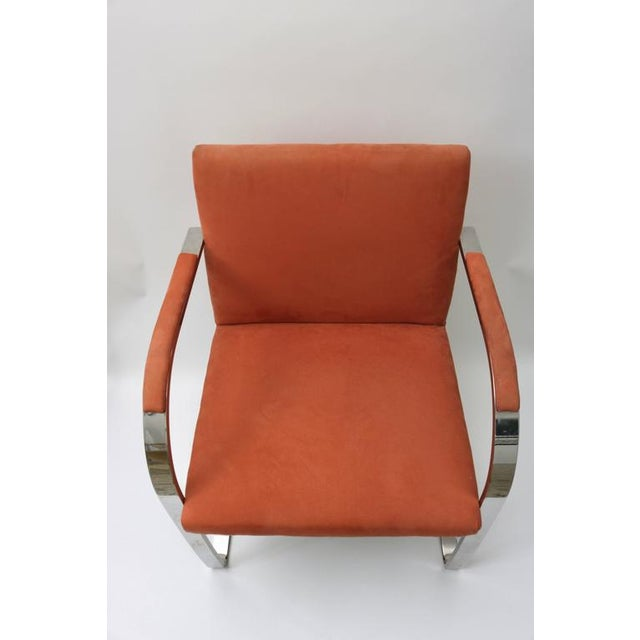 1970s Brno Flat Bar Chairs by Knoll in Polished Steel and Ultra Suede - Set of 6 For Sale - Image 5 of 8