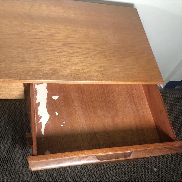 Mid Century Modern Teak Desk or Vanity For Sale - Image 4 of 13