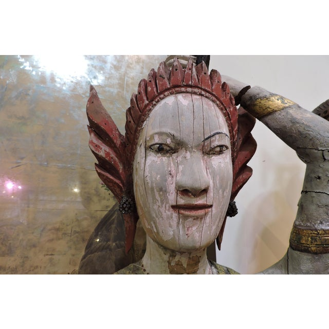 Carved Wooden Statue of Phra Mae Therani, the Thai Earth Mother Goddess Wringing the Cool Waters of Detachment Out of Her Hair For Sale In San Francisco - Image 6 of 7
