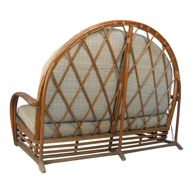 Antique 1940s Arch Top Rattan Settee by Heywood Wakefield For Sale